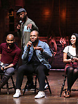 Antuan Magic Raimone,  Sean Green Jr., Lauren Boyd and Donald Webber during the eduHAM Q & A with the cast of Broadway's 'Hamilton' at The Richard Rodgers Theatre on April 25, 2018 in New York City.