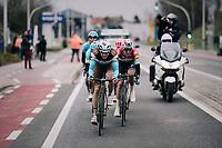 Oliver Naesen (BEL/AG2R La Mondiale) taking his turn at the front after Bob JUNGELS (LUX/Deceuninck-Quick Step)<br /> <br /> 71th Kuurne-Brussel-Kuurne 2019 <br /> Kuurne to Kuurne (BEL): 201km<br /> <br /> ©kramon