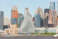 Part of the evolving mid-town skyline, including pyramidal VIA 57 West, on West 57th street, in New York City.