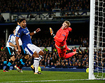 Ashley Williams of Everton and Jordan Pickford of Everton watch as the ball ends up in the net for the equaliser during the Europa League Group E match at Goodison Park Stadium, Liverpool. Picture date: September 28th 2017. Picture credit should read: Simon Bellis/Sportimage