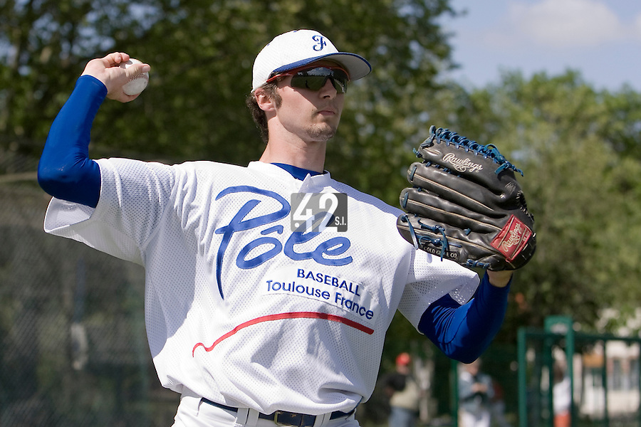 30 April 2008: Jonathan Dechelle of France throws the ball during the first of seven 2008 MLB European Academy Try-out Sessions throughout Europe, at Stade Kandy Nelson Ball Park, in Toulouse, France. Try-out sessions are run by members of the Major League Baseball Scouting Bureau with assistance from MLBI staff.