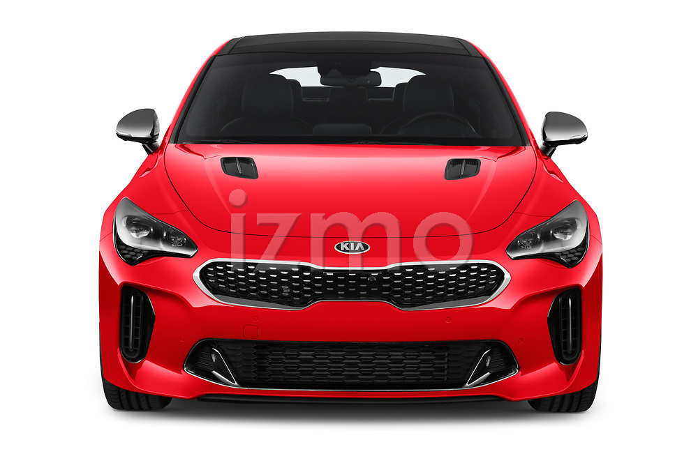 Car photography straight front view of a 2018 KIA Stinger GT-Line 5 Door Hatchback