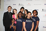 Charlie White - Meryl Davis - Tamron Hall with Harlem Figure Skaters at The 11th Annual Skating with the Stars Gala - a benefit gala for Figure Skating in Harlem - honoring Meryl Davis & Charlie White (Olympic Ice Dance Champions and Meryl winner on Dancing with the Stars) and presented award by Tamron Hall on April 11, 2016 on Park Avenue in New York City, New York with many Olympic Skaters and Celebrities. (Photo by Sue Coflin/Max Photos)