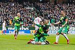 10.02.2019, Weserstadion, Bremen, GER, 1.FBL, Werder Bremen vs FC Augsburg<br /> <br /> DFL REGULATIONS PROHIBIT ANY USE OF PHOTOGRAPHS AS IMAGE SEQUENCES AND/OR QUASI-VIDEO.<br /> <br /> im Bild / picture shows<br /> Jubel 1:0, Milot Rashica (Werder Bremen #11) bejubelt seinen Treffer zum 1:0 mit Maximilian Eggestein (Werder Bremen #35), Johannes Eggestein (Werder Bremen #24), Max Kruse (Werder Bremen #10), <br /> <br /> Foto © nordphoto / Ewert