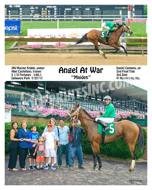 Angel at War winning at Delaware Park on 7/27/17