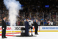 June 12, 2019: National Hockey League Commissioner Gary Bettman presents the Stanley Cup Trophy to St. Louis Blues defenseman Alex Pietrangelo (27) at game 7 of the NHL Stanley Cup Finals between the St Louis Blues and the Boston Bruins held at TD Garden, in Boston, Mass. The Saint Louis Blues defeat the Boston Bruins 4-1 in game 7 to win the 2019 Stanley Cup Championship.  Eric Canha/CSM