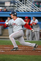 September 11 2008:  Catcher Tim Federowicz of the Lowell Spinners, Class-A affiliate of the Boston Red Sox, during a game at Dwyer Stadium in Batavia, NY.  Photo by:  Mike Janes/Four Seam Images
