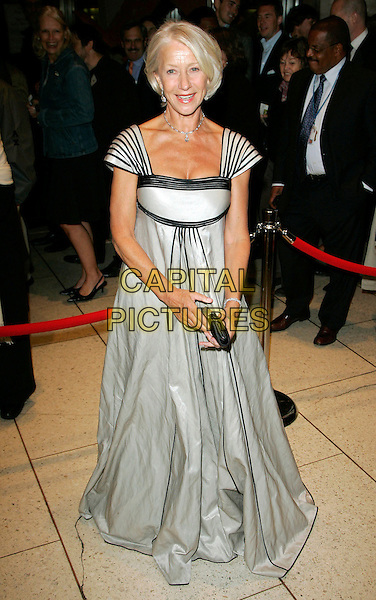 """DAME HELEN MIRREN.at the NY Premiere of """"The Queen"""" at Avery Fisher Hall, New York, New York, USA, 29 September 2006..full length grey and black gown dress striped cap sleeves.Ref: ADM/JL.www.capitalpictures.com.sales@capitalpictures.com.©Jackson Lee/AdMedia/Capital Pictures."""