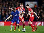 Cesc Fabregas of Chelsea is fouled by Gabi of Atletico Madrid during the Champions League Group C match at the Stamford Bridge, London. Picture date: December 5th 2017. Picture credit should read: David Klein/Sportimage