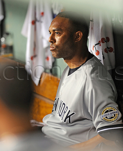 04/24/09 NY Yankees Vs Boston Red Sox: Yankees closer Mariano Rivera sits in the Yankee dugout looking completely dejected after giving up the tieing run in the eighth to put the game into extra innings.