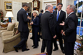 United States President Barack Obama talks with U.S. Senator Patty Murray (Democrat of Washington), as Chief of Staff Bill Daley talks with U.S. Senator Dick Durbin (Democrat of Illinois), right, and Office of Management and Budget Director Jack Lew, center, following a meeting with Senate Democratic Leadership in the Oval Office of the White House in Washington, D.C., December 7, 2011..Mandatory Credit: Pete Souza - White House via CNP