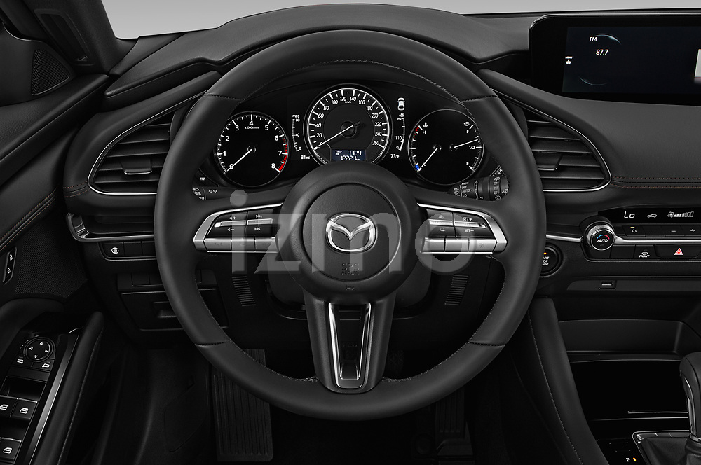 Car pictures of steering wheel view of a 2019 Mazda Mazda-3 Style 5 Door Hatchback