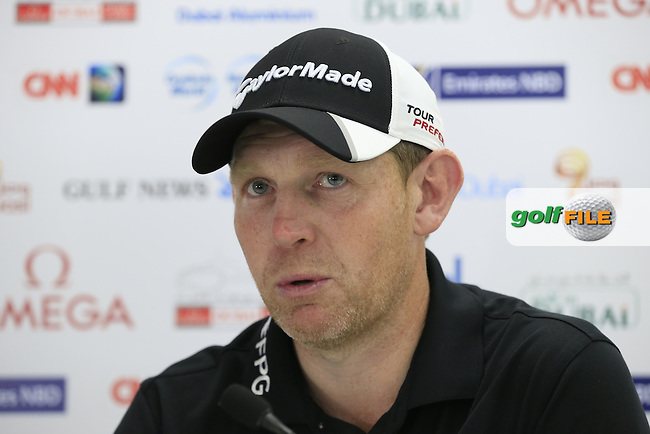 Defending Champion Stephen Gallacher (SCO) press conference during Wednesday's Pro-Am of the Omega Dubai Desert Classic 2014 held at the Emirates Golf Club, Dubai. 29th January 2014.<br /> Picture: Eoin Clarke www.golffile.ie