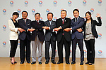 (L to R) Christel Takigawa, Toshiaki Yoshino, Masato Mizuno,  Naoki Inose, Yoshiro Mori, Yuki Ota, Mami Sato, <br /> September10, 2013  : <br /> International Olympic Committee (IOC) session return home press conference <br /> in Shinjuku, Tokyo, Japan. <br /> (Photo by Daiju Kitamura/AFLO SPORT)