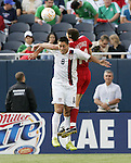 21 June 2007:  United States forward Clint Dempsey (8) challenges Canada's Richard Hastings (11) for a header. The United States Men's National Team defeated the national team of Canada 2-1 in a CONCACAF Gold Cup Semifinal match at Soldier Field in Chicago, Illinois.