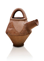 Hittite terra cotta side spout with stainer basket handles pitcher . Hittite Period, 1600 - 1200 BC.  Hattusa Boğazkale. Çorum Archaeological Museum, Corum, Turkey. Against a white bacground.
