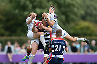 Darren Atkins of Bath Rugby claims the ball in the air. Pre-season friendly match, between Bristol Rugby and Bath Rugby on August 12, 2017 at the Cribbs Causeway Ground in Bristol, England. Photo by: Patrick Khachfe / Onside Images
