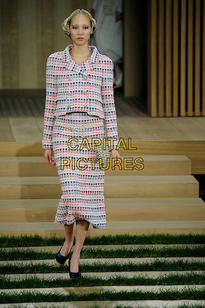Chanel Paris Haute Couture Women 2016<br /> Karl Lagherfield presented his collection in the Grand Palais in the prestideous district of Paris close to the Seine. The show was totally classical Chanel taking it back to its roots when Chanel was still alive.The models stepped delicatelly down stairs in a by gone age of beauty and serenity.<br /> Paris, France - 26 Jan 2016<br /> CAP/GOL<br /> &copy;GOL/Capital Pictures