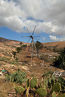 Abandoned neglected old windmill used for pumping water, Fuerteventura, Canary Island, Spain.