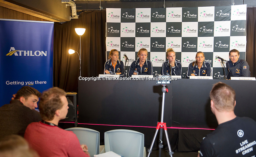 Arena Loire,  Trélazé,  France, 13 April, 2016, Semifinal FedCup, France-Netherlands, Press-conference Dutch team<br /> Photo: Henk Koster/Tennisimages
