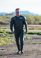 Feb 24, 2019; Chandler, AZ, USA; NHRA top fuel Harley Davidson nitro motorcycle rider Beau Layne after winning the Arizona Nationals at Wild Horse Pass Motorsports Park. Mandatory Credit: Mark J. Rebilas-USA TODAY Sports