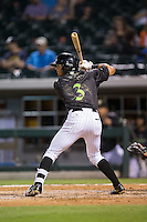 Jacob May (3) of the Charlotte Knights at bat against the Columbus Clippers at BB&T BallPark on May 3, 2016 in Charlotte, North Carolina.  The Clippers defeated the Knights 8-3.  (Brian Westerholt/Four Seam Images)