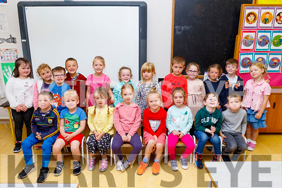 Mrs Miriam Cleary's new Junior infants settling nicely at Castlegregory National school last Monday, Sept 2nd.