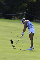 Lexi Thompson (USA) plays her 2nd shot on the 12th hole during Friday's Round 2 of The Evian Championship 2018, held at the Evian Resort Golf Club, Evian-les-Bains, France. 14th September 2018.<br /> Picture: Eoin Clarke | Golffile<br /> <br /> <br /> All photos usage must carry mandatory copyright credit (&copy; Golffile | Eoin Clarke)