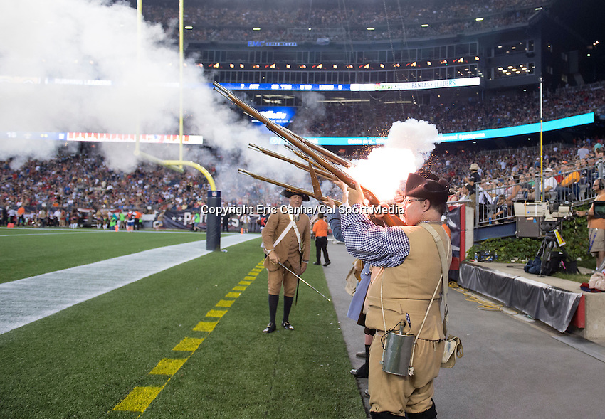 Thursday August 11, 2016: The Minuteman Militia fires a volley after a Patriots score during an NFL pre-season game between the New Orleans Saints and the New England Patriots held at Gillette Stadium in Foxborough Massachusetts. The Patriots defeat the Saints 34-22 in regulation time. Eric Canha/CSM