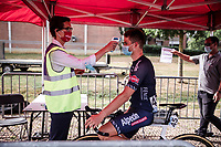 A face masked David van der Poel (NED/Alpecin Fenix) at the pre race temperature check point.  <br /> <br /> Dwars Door Het Hageland 2020<br /> One Day Race: Aarschot – Diest 180km (UCI 1.1)<br /> Bingoal Cycling Cup 2020