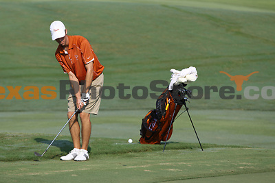 University of Texas senior Brax McCarthy hits his ball off the fringe during the Carpet Capital Collegiate at The Farm Golf Club in Rocky Face, Ga., on Sunday, Sept. 8. The Longhorns return to The Farm as defending champions after shooting a 13-under 851 in 2012.<br /> <br /> Photo by Patrick Smith