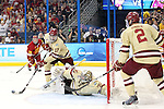 07 APR 2012:  Goalie Parker Milner (35) and Destry Straight (17) of Boston College protect the goal against Ferris State University during the Division I Men's Ice Hockey Championship held at the Tampa Bay Times Forum in Tampa, FL.  Boston College defeated Ferris State 4-1 to win the national title.  Matt Marriott/NCAA Photos