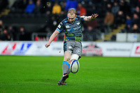 Luke Price of Ospreys kicks his sides first conversion during the Heineken Champions Cup Round 5 match between the Ospreys and Saracens at the Liberty Stadium in Swansea, Wales, UK. Saturday January 11 2020.