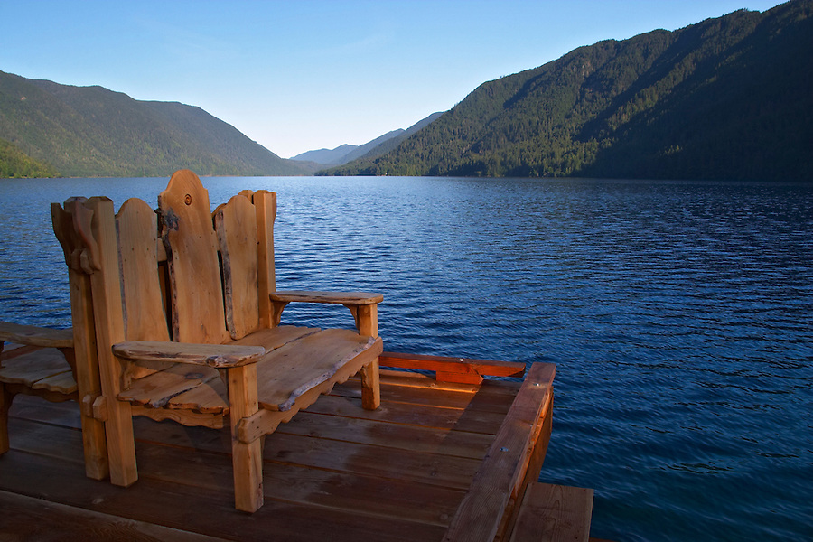 Adirondack chair style bench on dock by lake, Lake Crescent Lodge, Olympic National Park, Olympic Peninsula, Clallam County, Washington, USA