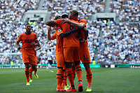 Joelinton of Newcastle United is congratulated after scoring the first goal during Tottenham Hotspur vs Newcastle United, Premier League Football at Tottenham Hotspur Stadium on 25th August 2019