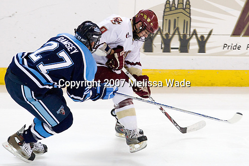 Travis Ramsey (Maine 27), Nate Gerbe (BC 9) - The Boston College Eagles and University of Maine Black Bears played to a 1-1 tie on Friday, November 2, 2007, at Kelley Rink at Conte Forum in Chestnut Hill, Massachusetts.