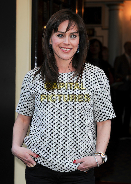 Jill Halfpenny.'Merrily We Roll Along' Press Night at the Harold Pinter Theatre, London, England..May 1st 2013.half length grey gray white pattern top black blue shirt .CAP/GM/PP.©Gary Mitchell/PP/Capital Pictures.