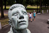 "A statue labeled ""Religion"" is seen in Parkman Plaza in Boston Common in Boston, Mass., on Tues., June 28, 2016. The plaza and other locations in Boston Common along Tremont Street are   places where many homeless people gather during the day."