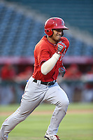 Ryan Vega (31) of the AZL Angels runs to first base during a game against the AZL Giants at Tempe Diablo Stadium on July 6, 2015 in Tempe, Arizona. Angels defeated the Giants, 3-1. (Larry Goren/Four Seam Images)