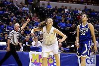 Penn guard Kaitlyn Marenyi (10) reacts after drawing a foul during the IHSAA Class 4A Girls Basketball State Championship Game on Saturday, Feb. 27, 2016, at Bankers Life Fieldhouse in Indianapolis.