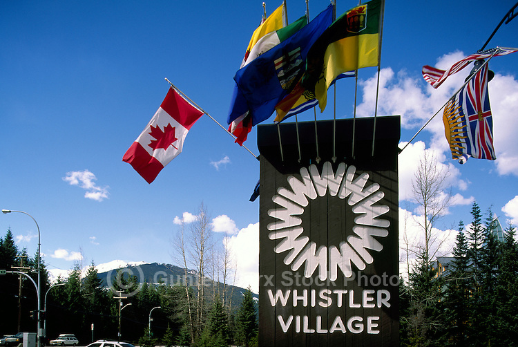 Welcome Sign to Whistler Village Ski Resort, BC, British Columbia, Canada, Spring
