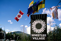 Welcome Sign to Whistler Village Ski Resort, BC, British Columbia, Canada, Spring
