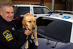 East Hartford K9 Officer David Rhoades, with his bomb sniffing dog Charlie, Friday, Feb, 15, 2008, at the East Hartford Police station. (Jim Michaud/Journal Inquirer)