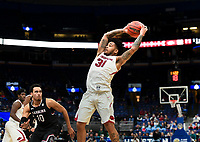 NWA Democrat-Gazette/CHARLIE KAIJO Arkansas Razorbacks guard Anton Beard (31) reaches for a pass during the Southeastern Conference Men's Basketball Tournament, Thursday, March 8, 2018 at Scottrade Center in St. Louis, Mo.