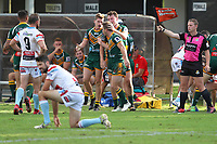 The Wyong Roos play Woy Woy Roosters in Round 2 of the First Grade Central Coast Rugby League Division at Morry Breen Oval on 14th of April, 2019 in Kanwal, NSW Australia. (Photo by Paul Barkley/LookPro)