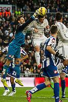 Real Madrid´s Gareth Bale and Deportivo de la Coruna's Fabricio Agosto during 2014-15 La Liga match between Real Madrid and Deportivo de la Coruna at Santiago Bernabeu stadium in Madrid, Spain. February 14, 2015. (ALTERPHOTOS/Luis Fernandez) /NORTEphoto.com