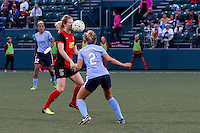 Rochester, NY - Saturday May 21, 2016: Western New York Flash midfielder Samantha Mewis (5) and Sky Blue FC midfielder Shawna Gordon (2). The Western New York Flash defeated Sky Blue FC 5-2 during a regular season National Women's Soccer League (NWSL) match at Sahlen's Stadium.
