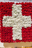Switzerland. Swiss flag made with red and white carnation flowers.