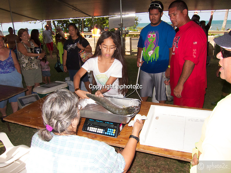 2012 Annual Family Feud fishing tournament in Beautiful Kaneohe Bay Oahu. Team Pakole had captain Marvin Ching and crew members Josie, Colby and Ed.