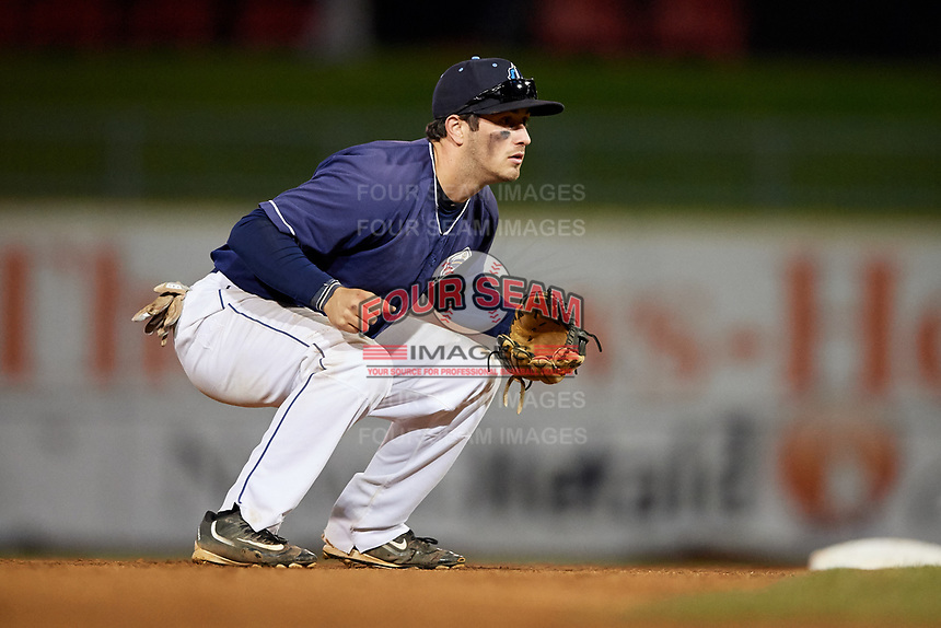 Lake County Captains shortstop Tyler Friis (7) during the second game of a doubleheader against the South Bend Cubs on May 16, 2018 at Classic Park in Eastlake, Ohio.  Lake County defeated South Bend 5-2.  (Mike Janes/Four Seam Images)